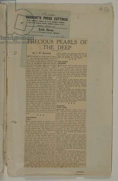 'Precious Pearls of the Deep': an article on pearl diving from the Irish News, dated 18 April 1935 (newsprint)
