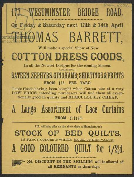 Advert for Thomas Barrett, clothiers, 1889 (print)