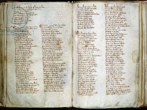 Harley 2253, ff.71v-72 Middle English Verse, 'Spring', 'Advice to women', and 'An old man's prayer', from 'The Harley Lyrics', c.1340 (ink on paper)