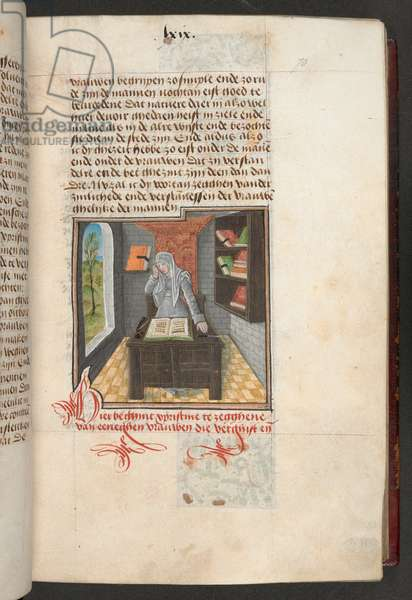 Add MS 20698, f. 70r, Cornificia (Corinse) in her study, seated at a desk with a book in front of her, 1475 (vellum)