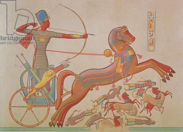 746.c.1. & f.8 Combat of Ramses-Miamoun against the Khetas on the Borders of the Oronte, from 'Histoire de L'Art Egyptien d'apres les Monuments' by Achille Prisse D'Avennes, Paris, 1878-79 (coloured engraving)