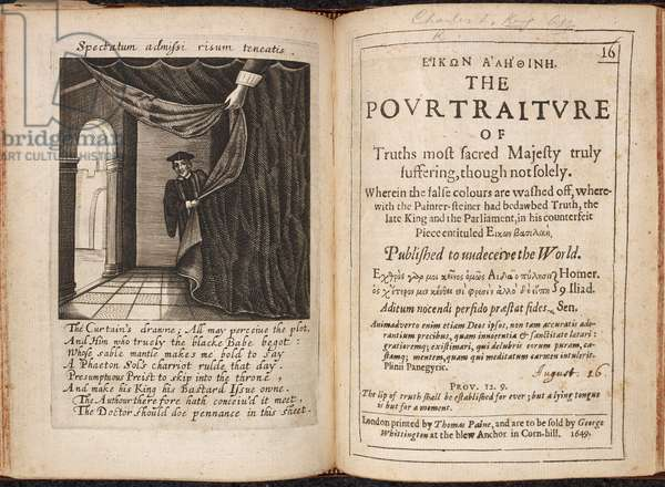 Illustration of man half-concealed behind a curtain. A political commentary on the events of the Great Parliament and the execution of King Charles 1st.