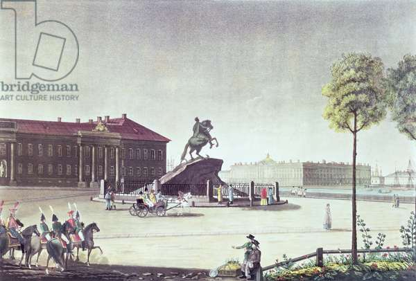 View of St.Peter the Great Square and St.Petersburg Senate, published by Boyer, London 1815 (colour litho)