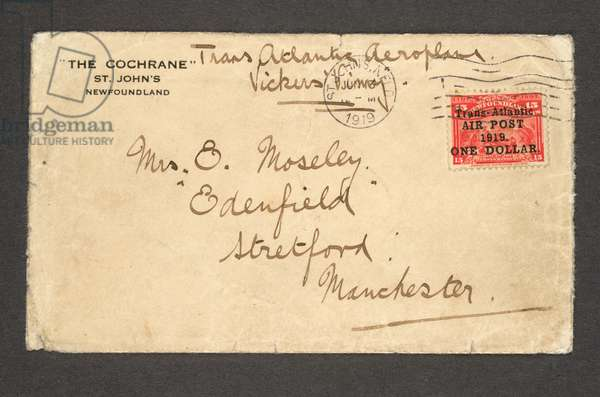 Newfoundland: 1919 cover carried on Alcock and Brown's first Trans-Atlantic flight, (addressed to Alcock's sister), bearing 1919 (9 June) $1 on 15c. bright scarlet, 1919 (pen & ink on paper)