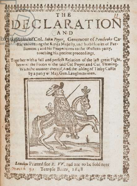 'The Declaration of Col. John Poyer...', 1648 (woodcut print)
