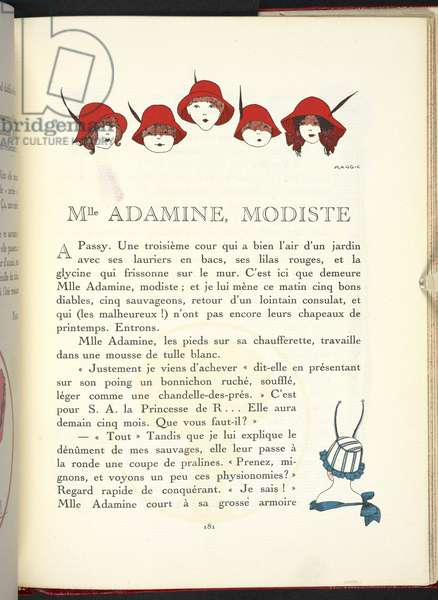 Mlle Adamine, modiste. Red hats.