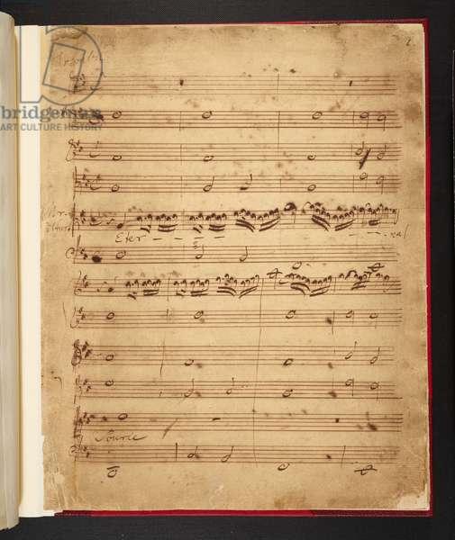First page of Handel's manuscript score of 'Eternal Source of Light Divine', 1713 (pen & ink on paper)