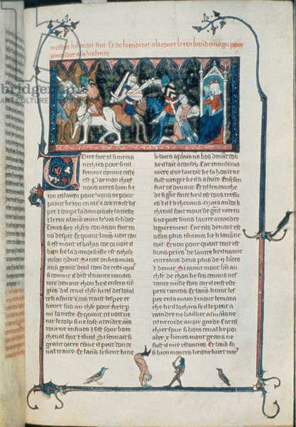 Roy 20 D IV f.260 Lancelot forcing a knight to travel to King Baudemagus, from 'Lancelot du Lac' (vellum)
