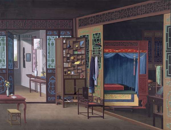 Interior of a Chinese house in Canton, 1800-05 (opaque w/c on paper)