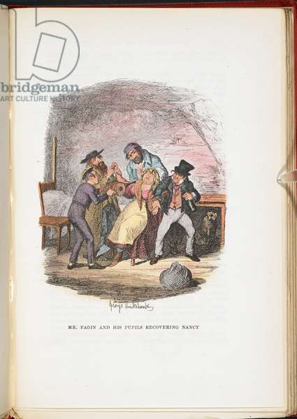 Mr Fagin and his pupils recovering Nancy, from The Adventures of Oliver Twist ... With twenty-four illustrations by Cruikshank, 1911 (colour litho)