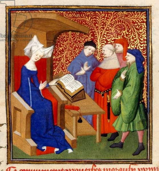 Christine instructing, MS Harley 4431, f.259v, France, c.1410-14 (colour on parchment)