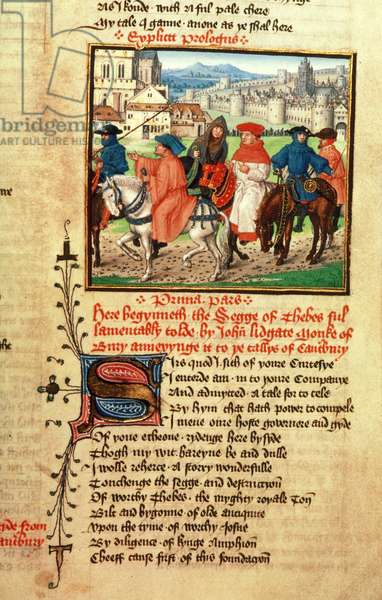 Roy 18 D 11 f.148 Lydgate and the Canterbury Pilgrims leaving Canterbury from `Troy Book and the Siege of Thebes' by John Lydgate (c.1370-c.1451) 1412-22 (vellum)