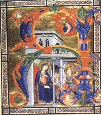 Add 3525 f.4 Initial `R' enclosing a miniature of an Annunciation, from a Book of Hours, Florentine, early 15th century