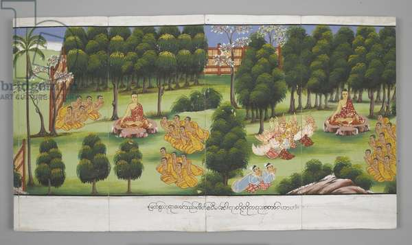 Or. 13534, f.15, Scenes from the Life of Buddha (parchment)