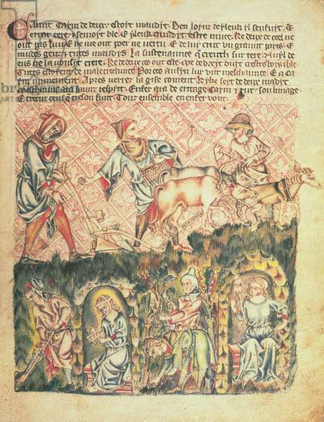 Add 47682 f.6 Cain and his descendants, from the 'Holkham Bible', c.1320-30 (vellum)