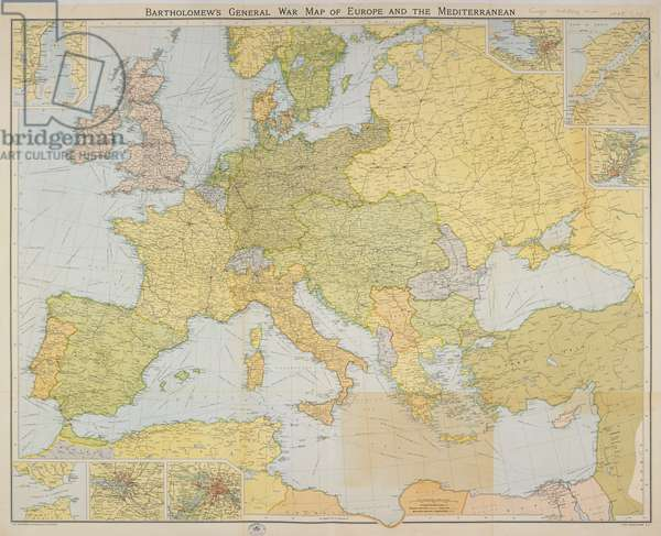 Bartholomew's General War Map of Europe and the Mediterranean. 1914.