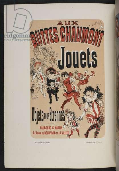 Aux Buttes Chaumont Jouets, 'Les affiches illustrées. Ouvrage orné de...', by Ernest Maindron, 1886 (colour litho)