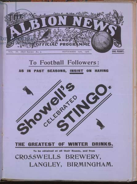 Official programme for the football team, West Bromwich Albion.