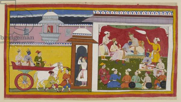 Add 15296 (1) f.12r, Sumantra brings Rama and Laksmana in a chariot to Dasaratha's durbar hall, with a woman looking down from above through a jharokha. The king greets Rama, informs him of his decision and seats him on a small throne beside him while the assembled noblemen approve his installation as regent.