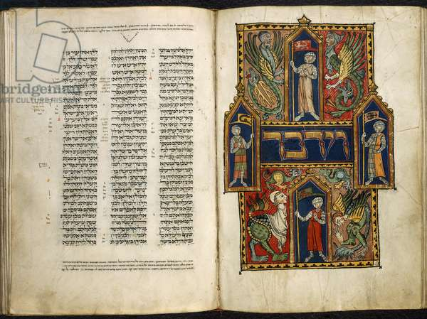 Add. 15282 fol.179v-180 Decorated first word of the Book of Numbers, from the 'Duke of Sussex German Pentateuch', c.1300 (vellum)