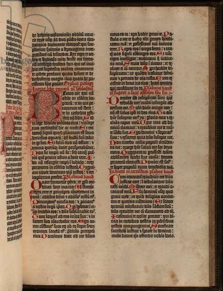 Medieval gothic 'textura quadrata' type, in the Gutenberg Bible, by Johannes Gutenberg, c.1455 (vellum)