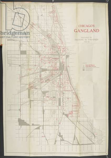 Chicago's Gangland, In The Gang: a study of 1,313 Gangs in Chicago, prepared by Frederic Milton Thrasher, 1927 (coloured engraving)