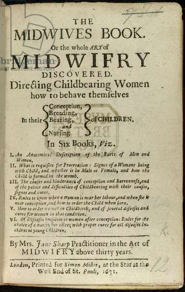 Title page of 'The Midwives Book, or the whole art of midwifry discovered'