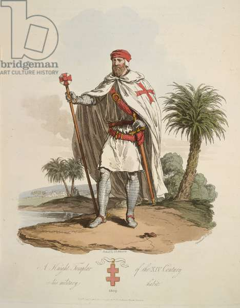 A Knight Templar, illustration from 'The Costume of the original inhabitants of the British Islands from the earliest periods to the sixth century, to which is added that of the Gothic nations on the Western Coasts of the Baltic, the ancestors of the Anglo-saxons and Anglo-Danes...', 1815 (colour litho)