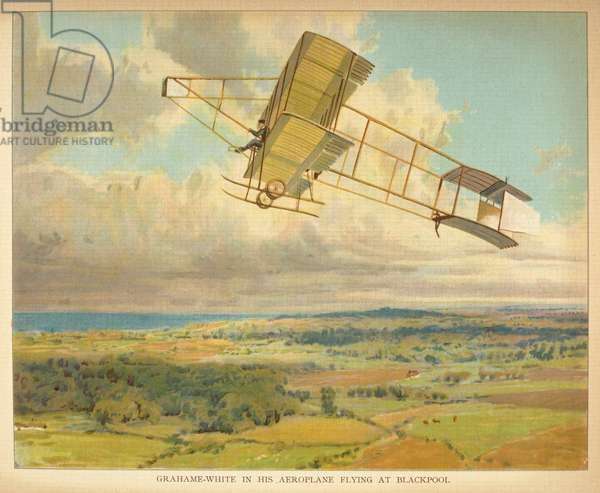 Grahame-White in his Aeroplane Flying at Blackpool, from the 'Little People's Book of Airships', 1912 (colour litho)