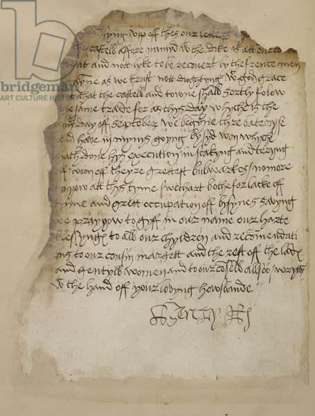 Letter of King Henry VIII to Queen Katherine Parr