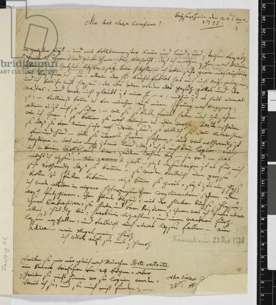 Zweig 66 f.1 Letter to Maria Anna Thekla Mozart, 23rd December 1778 (ink on paper)