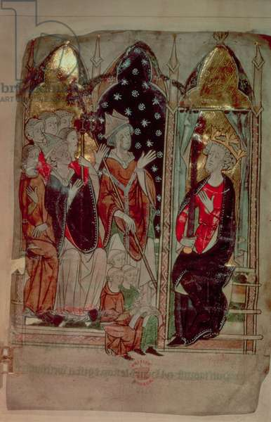 Cott Vitt A XIII f.6 Edward I with monks and bishops, from the 'Decrees of Kings of Anglo-Saxon and Norman England' (vellum)