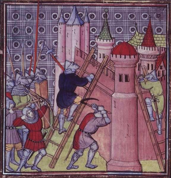 Royal 20 C.VII fol.19  The French destroy Genoa, from 'Chroniques de France ou de St. Denis' late 14th Century (vellum)