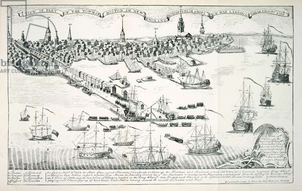 A View of the Town of Boston in New England and British Ships of War Landing Their Troops, 1768, 1770