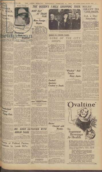 Page from 'The Leeds Mercury', 21st February, 1934 (print)