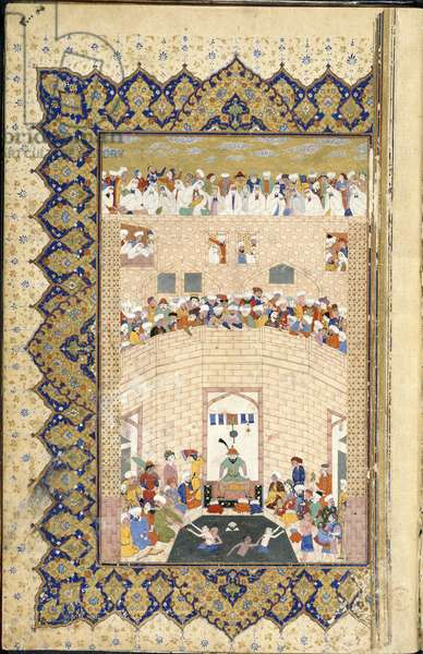 A prince watching people bathing in the healing waters at Sa'di's tomb of Nawruz, from the 'Kulliyyat of Sa'di', 1566 (vellum)