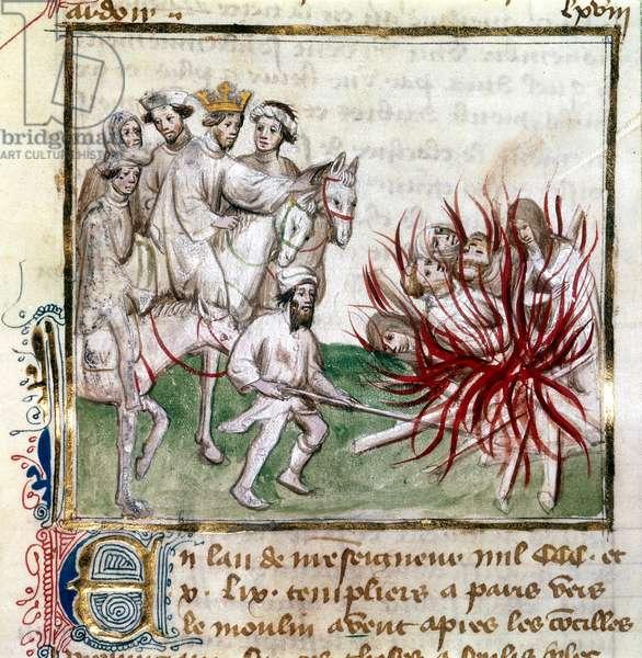 Sloane 2433 C fol.18v Burning of the Templars, from 'Les Grandes Chroniques de France', c.1410-20 (vellum)