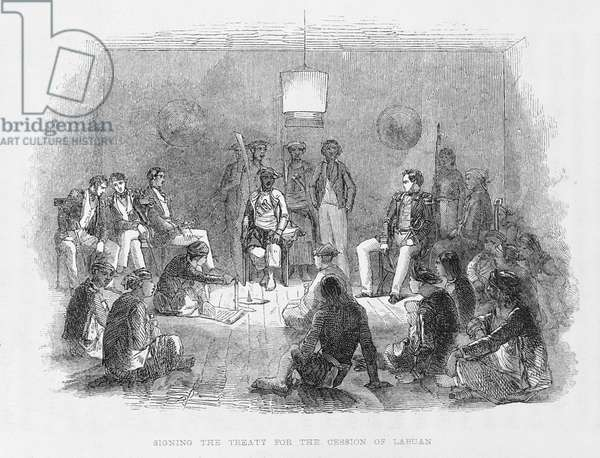Borneo: Signing of the Treaty for cession of Labuan, 1846