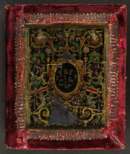 Enamelled cover decorated with figures and animals, and shorthand symbols in the central roundel, bordered with red velvet, 1578
