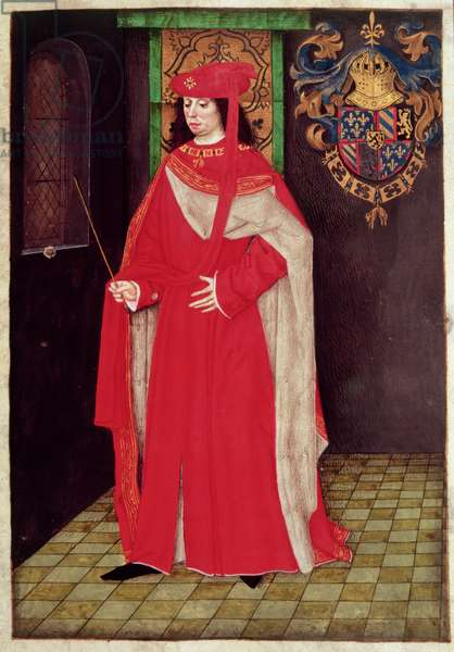 Harl 6199 f.69 Charles the Bold (1433-77), Duke of Burgundy (1467-77), from the Rules and Ordinances of the Order of the Golden Fleece (vellum)