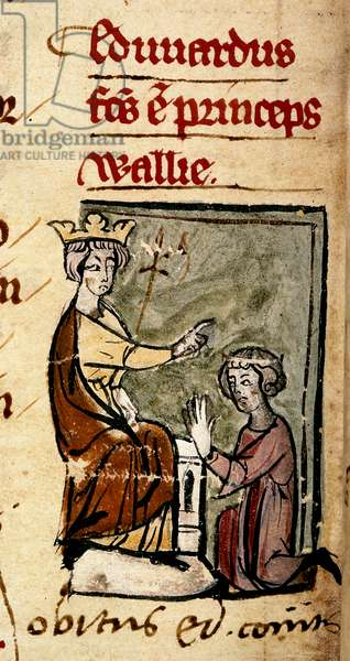 Edward of Caernarvon [Edward II] created Prince of Wales and Earl of Chester by his father, King Edward I, at the Lincoln parliament, illustration from 'Chronica Roffense', by Matthew Paris, 7th February 1301 (vellum)