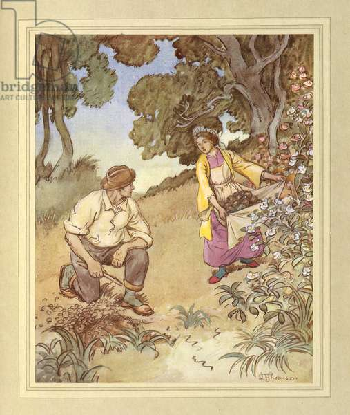 On the island, from 'The Admirable Crichton' by J. M. Barrie, 1914 (colour litho)