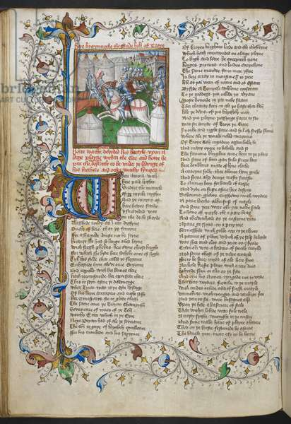 Royal MS 18 D II, f.66v, Miniature of Hector slaying Patroculus, with an illuminated initial 'W'(hen) and a partial foliate border, from Troy Book by John Lydgate, c.1457-60 (vellum)
