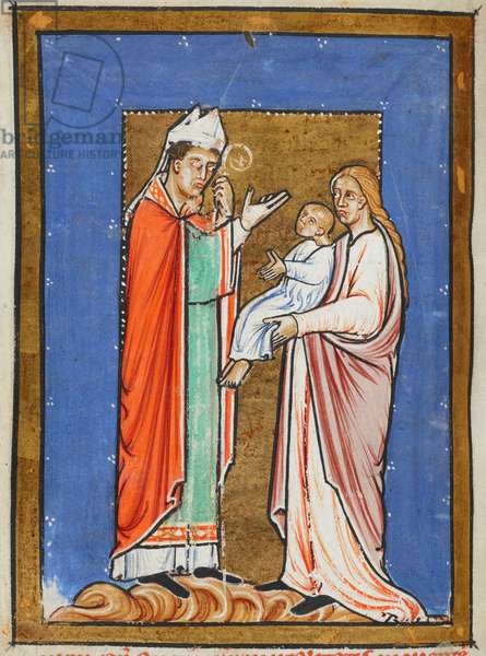 Yates Thompson 26 f.62v St. Cuthbert Healing a Child with the Plague, illustration from the 'Prose Life of St. Cuthbert', by Bede (vellum)