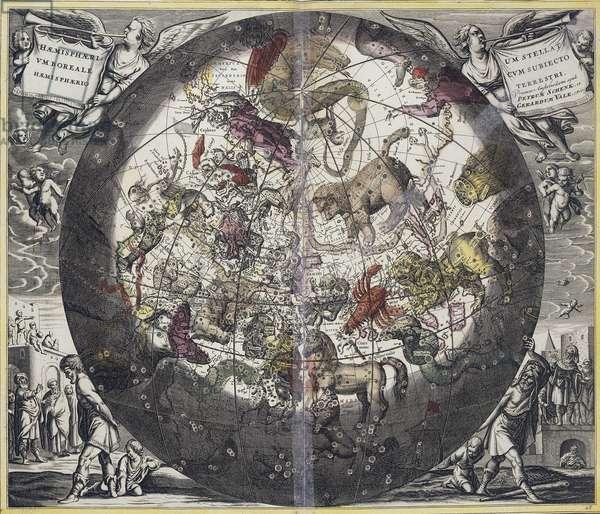 """Carte du ciel et signes du zodiaque : composition representant les constellations du ciel boreal, d'apres la """"""""Harmonia Macrocosmica"""""""" d'Andre Cellarius (1595-1665), 1660. The British Library Institution Reference: Shelfmark ID: Maps.C.25.d.18 Hemisphaerium Boreale. Atlas Coelestis. Harmonia Macrocosmica seu Atlas Universalis et novus, totius universi creati Cosmographiam generalem, et novam exhibens. Studio et labore Andreae Cellarii"""""""". 1660. ©The British Library Board/Leemage"""