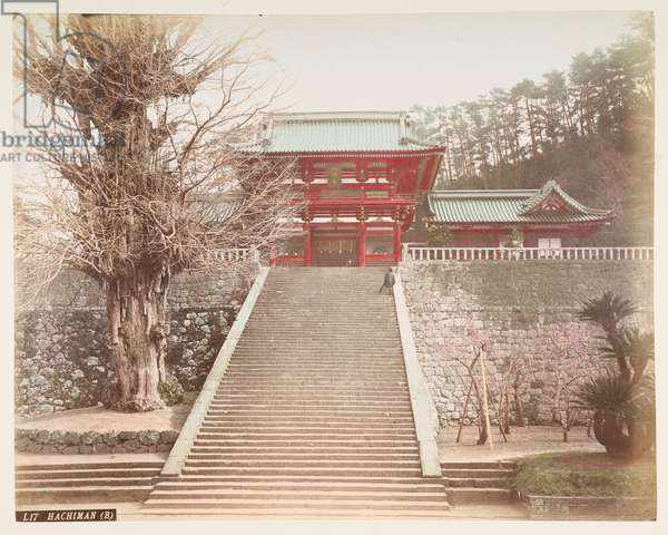 Hachiman, from A Book of Coloured Photographs of views in Japan, 1895 (coloured photo)