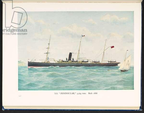 """S. S. """"Peninsular,"""" 5,294 tons,  Built 1888, A Hundred Year History of the P&O, Peninsular and Oriental Steam Navigation Company, 1837-1937, [With plates] Boyd Cable, 1937 (colour litho)"""
