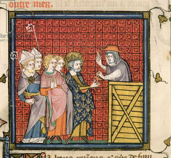 Roy 16 G VI f.436v Cardinal Simon advocates a Crusade before Louis VII