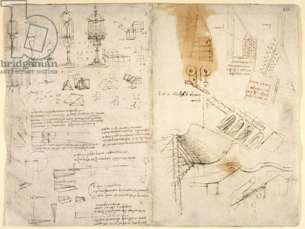 Arundel 263, f.283v, f.282 Sketches of hinged lamps; notes on mechanics; mathematical calculations; geometrical sketches (pen & ink on paper)