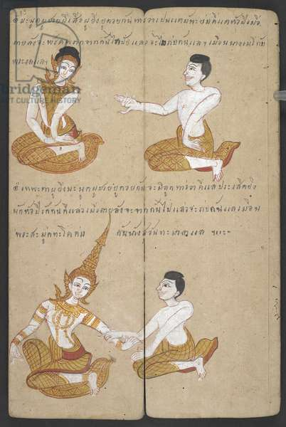 Or 16455 f.19r, Lucky and unlucky combinations of couples, from Phrommachat (parchment)